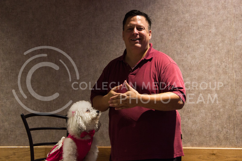 Brent Scarpo, speaker and life coach, presents 'The Dog that Saved My Life' with his dog Sophie in the Cottonwood Room on Sept. 21 as a part of Mental Wellness week. (Regan Tokos | Collegian Media Group)
