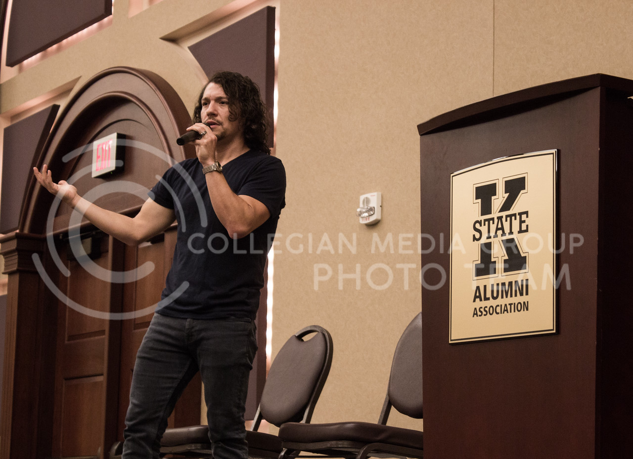 Miguel Cervantes, actor in Hamilton: An American Musical, speaks at the Alumni Center on Oct. 2 about his experience being a part of the cast of Hamilton and the importance of having a cast that reflects the diversity of America. (Regan Tokos | Collegian Media Group)
