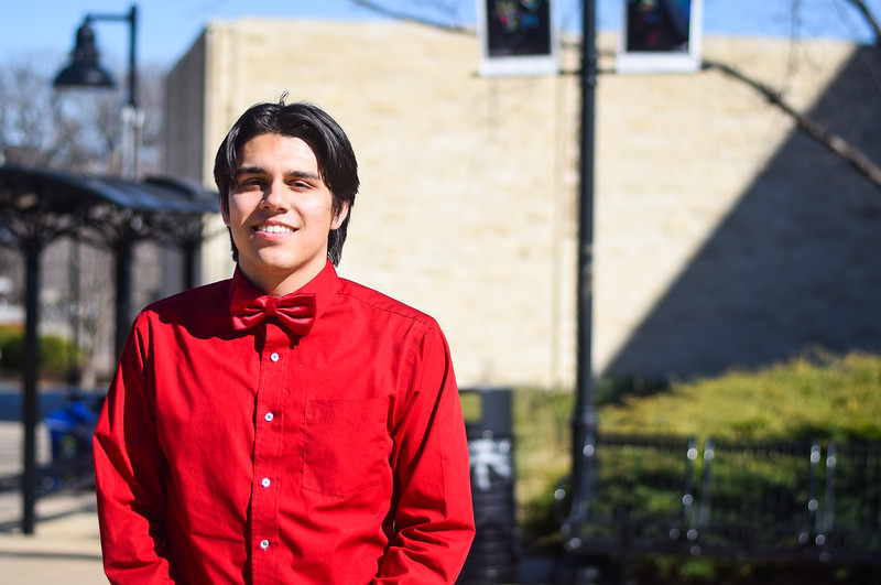 Freshman in music education, Mitchell Betancourt stands outside of McCain Auditorium on March 21.