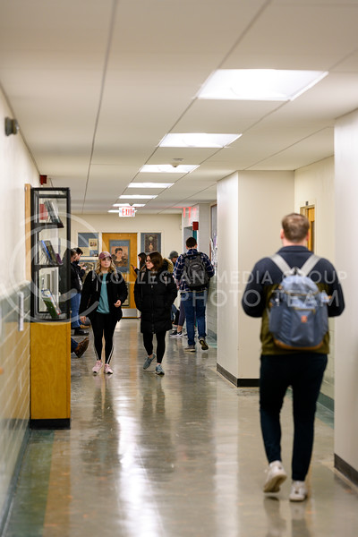 Students walk the corridor in the department of modern languages, Eisenhower Hall. Feb 3, 2019.(Dylan Connell   Collegian Media Group)