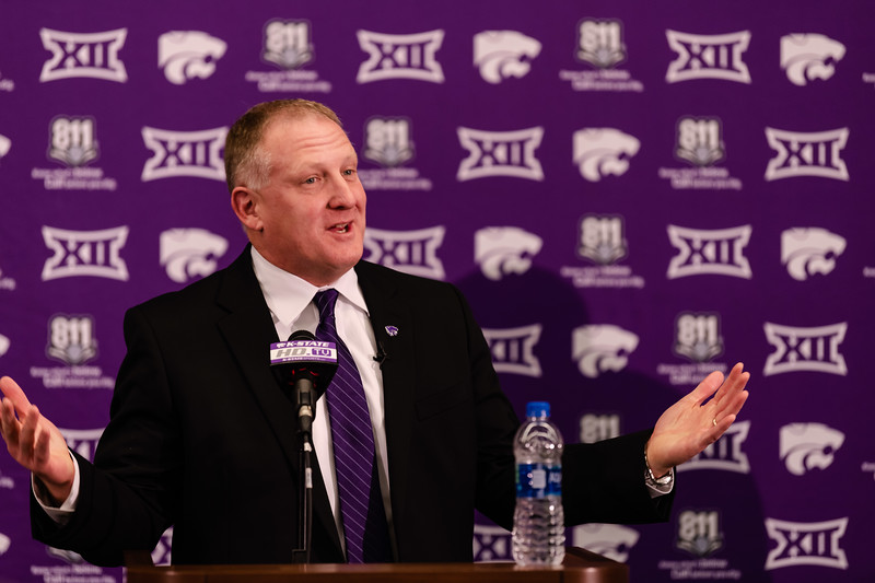 New head coach Chris Klieman talks about his gratitude towards the K-State family in welcoming him to Manhattan on Wednesday at a press conference. Klieman was welcomed to Manhattan on Wednesday, Dec. 12, 2018, to head into the next football season. (Olivia Bergmeier | Collegian Media Group)