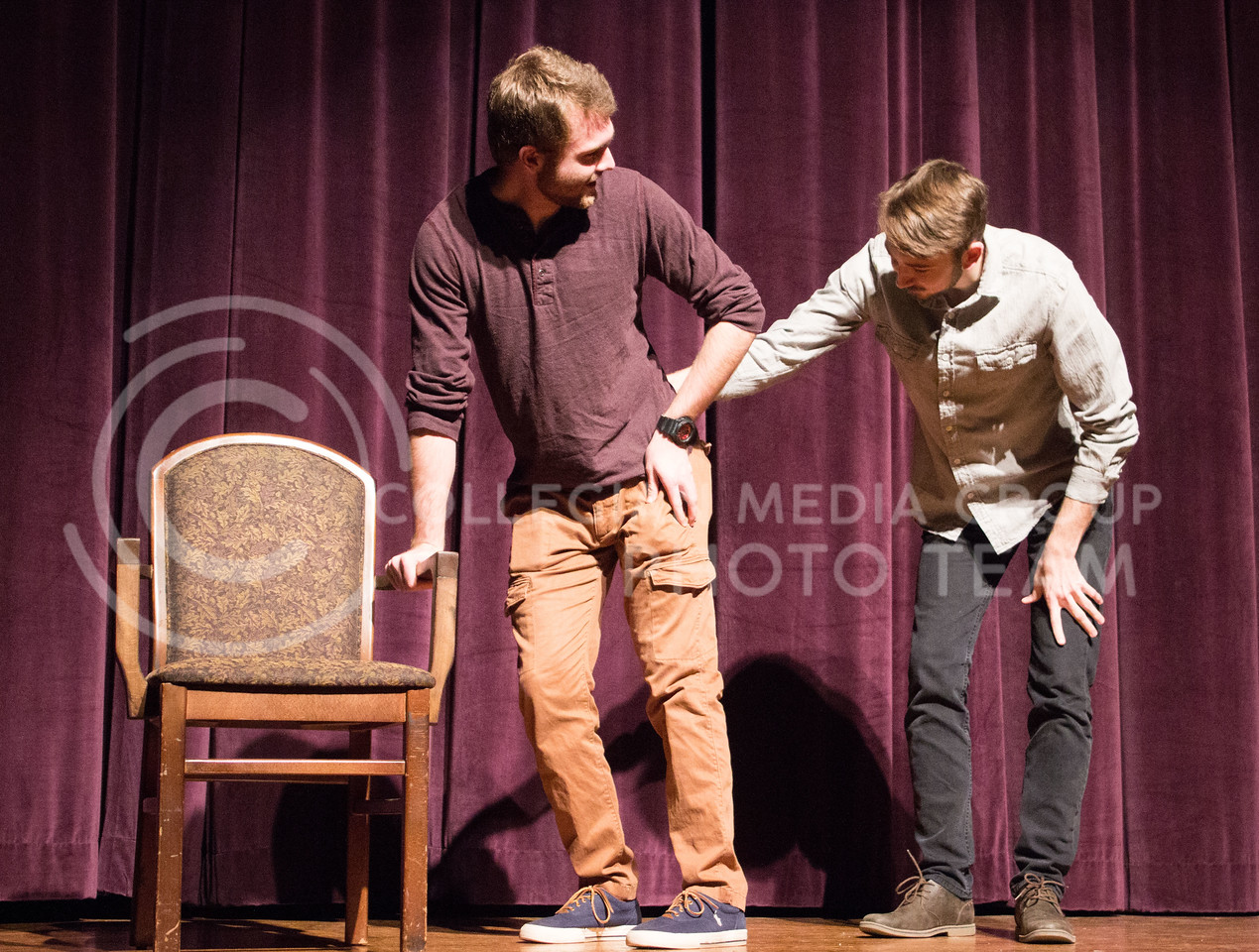 Dewey Molenda, senior in statistics, and Ryan Woods, senior in fine arts, perform at On The Spot Improv's first performance of the year in Forum Hall on Jan. 24, 2017. (Regan Tokos | The Collegian)