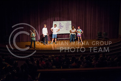 Members of On The Spot perform a skit during the On The Spot show in Forum Hall on Aug. 30, 2016. (Nathan Jones | The Collegian)
