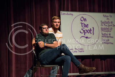 Michael Lee, senior in animal science, and Jordan Strickler, senior in biochemistry, perform a skit during the On The Spot show in Forum Hall on Aug. 30, 2016. (Nathan Jones | The Collegian)
