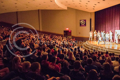 The audience watches as the performers act at the On The Spot improvisation show in Forum Hall on Aug. 30, 2016. (John Benfer | The Collegian)