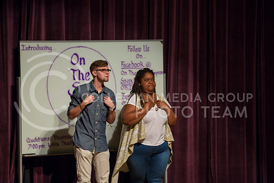 Mason Swenson, junior in mass communications, and Casha Mills, junior in English, perform a skit during the On The Spot show in Forum Hall on Aug. 30, 2016. (Nathan Jones | The Collegian)