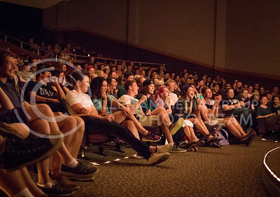 The audience reacts to the performers on stage at the On The Spot improvisation show in Forum Hall on Aug. 30, 2016. (John Benfer | The Collegian)