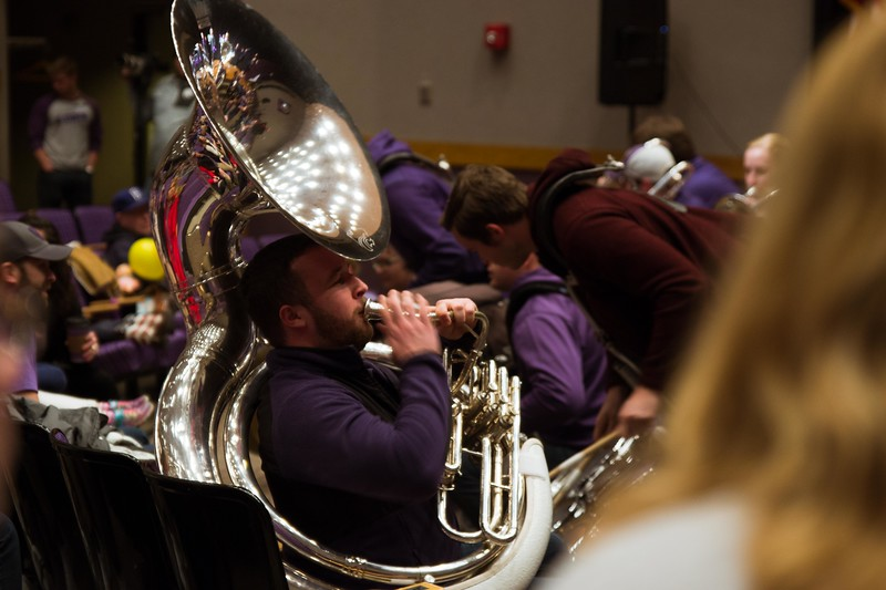 Sousaphone player blasts K-States pride as the marching band and drum line play the University's theme song in Forum Hall at Open House on Saturday, April 7. Different K-State groups displayed their K-State pride for visitors at Open House putting on a great show for all.  (Hannah Greer | Collegian Media)