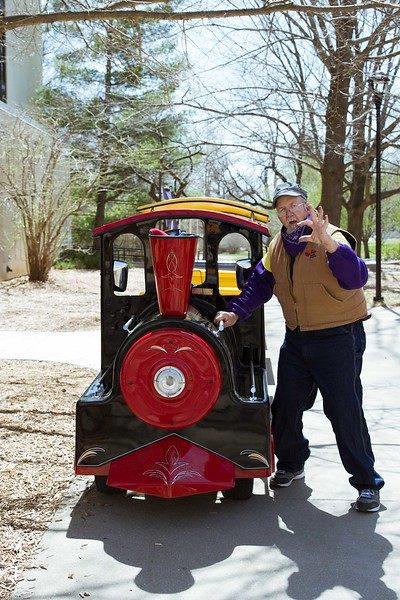 K-State proud The Friendly Engineer returns with his Little Apple Train for visitors to ride around campus. K-State's Open House was filled with fun activities, food, and plenty of opportunities to explore the vast options K-State has to offer.  (Hannah Greer | Collegian Media)