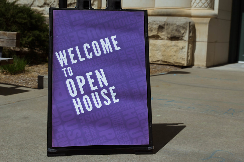 Welcome to Open House sign stands welcoming visitors outside of Hale Library on Saturday, April 7. K-State's Open House was filled with fun activities, food, and plenty of opportunities to explore the vast options K-State has to offer. (Hannah Greer | Collegian Media)