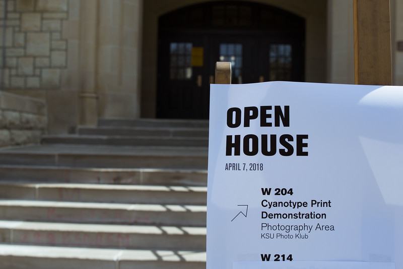 Signs set up all across campus to show individuals from across Kansas the various activities available.  K-State's Open House was filled with fun activities, food, and plenty of opportunities to explore the vast options K-State has to offer.  (Hannah Greer | Collegian Media)
