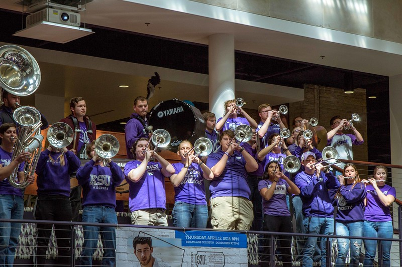 The band gets the entire Union clapping and moving as they play the traditional Wabash Cannonball at Open House on Saturday, April 7. Different K-State groups displayed their K-State pride for visitors at Open House putting on a great show for all.  (Hannah Greer | Collegian Media)