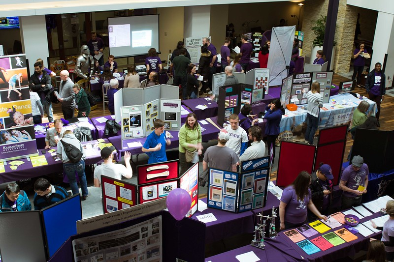 The Union is filled with stands and boards for all the different majors and minors to show what they offer to all visitors at the Open House on Saturday, April 7. K-State's Open House was filled with fun activities, food, and plenty of opportunities to explore the vast options K-State has to offer. (Hannah Greer | Collegian Media)