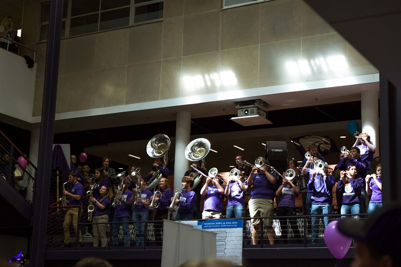 The Union is filled with K-State pride as the marching band and drum line blast the classic wabash cannonball for all the visitors in the Union on Saturday, April 7, at Open House. Different K-State groups displayed their K-State pride for visitors at Open House putting on a great show for all.  (Hannah Greer | Collegian Media)
