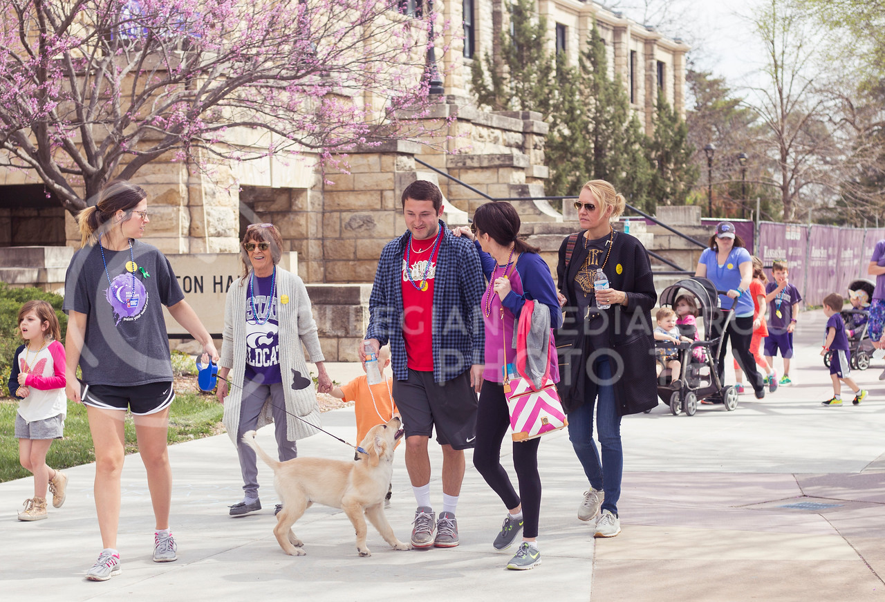 Participants begin the Out of the Darkness Walk which started out of Bosco Plaza on April 8, 2017. (Anna Spexarth | The Collegian)