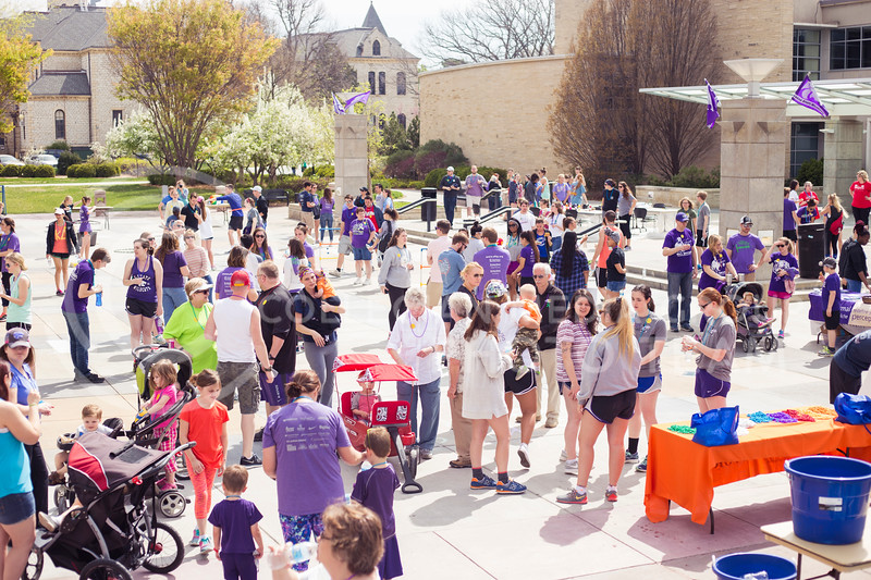 Participants wait for the Out of the Darkness Walk to begin in Bosco Plaza on April 8, 2017. (Anna Spexarth   The Collegian)