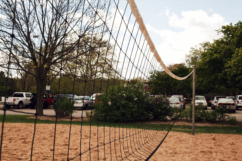 Volleyball courts stay rather barren until come summertime. This sand volleyball pit is located next to Haymaker and Moore hall. (Katelin Woods | Collegian Media Group)