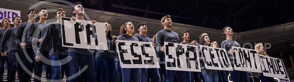 "Sorority and fraternity members perform in Bramlage Coliseum for ""Pant the Chant"" on Oct. 16, 2016. (Anna Spexarth 