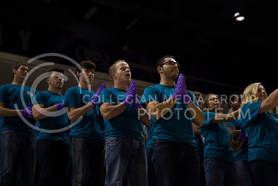 """Sorority and fraternity members perform in Bramlage Coliseum for """"Pant the Chant"""" on Oct. 16, 2016. (Anna Spexarth   The Collegian)"""