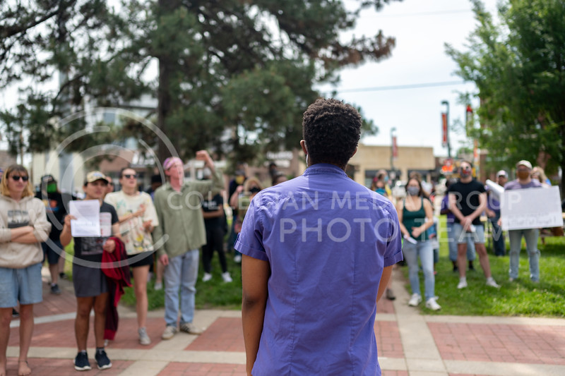 JahVelle Rhone helped organize a peaceful protest against police brutality on May 30, 2020. He addressed the crowd that gathered in Triangle Park, discussing peaceful protests and his hopes for a future where black children are given equal opportunity. (Dylan Connell | Collegian Media Group)