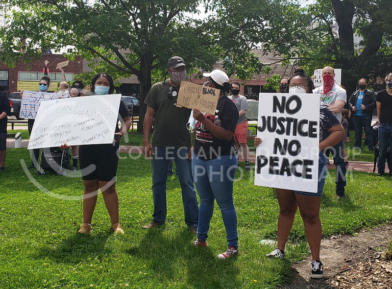Manhattan, Kansas, and other nearby towns joined the protests against police brutality dominating cities across the United States this weekend. These protests come on the heels of the police-involved death of George Floyd in Minnesota on Monday. (Abigail Compton | Collegian Media Group)
