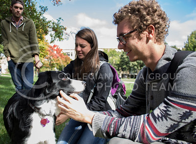 "Kenneth Winingham (right), freshman in elementary education, and Adrien Beaty (center), junior in animal science, pet a young dog named Cy at the ""Pet Away Stress"" event in the Quad on Oct. 12, 2016. (Miranda Snyder 