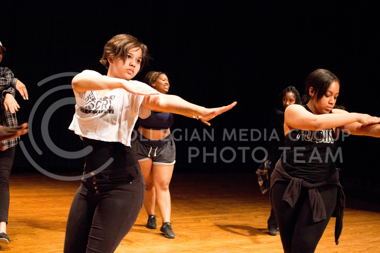 """K-State's Hip Hop team practices their dance moves for the second """"Poize After Dark,' happening on April. 24 in Forum Hall, on April. 10. <br /> (Alanud Alanazi   The Collegian)"""