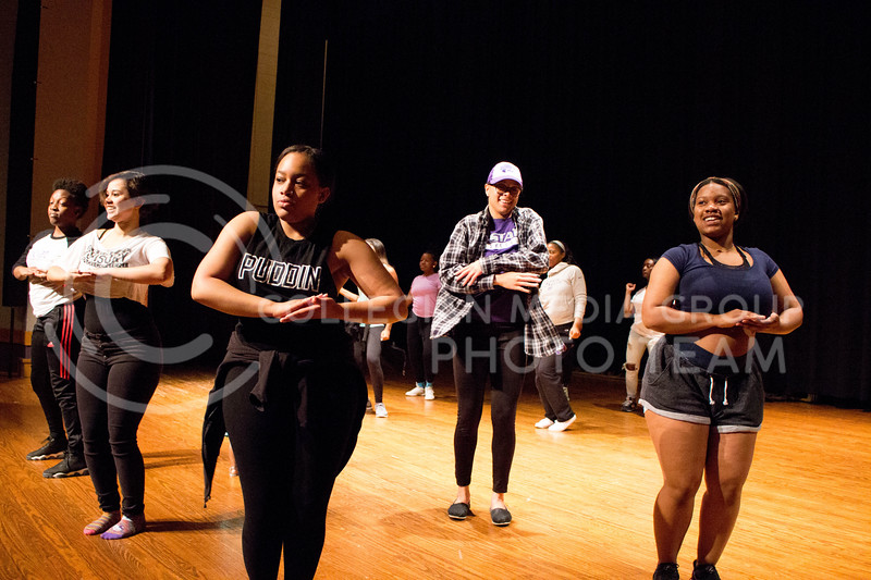 """K-State's Hip Hop team practices their dance moves for the second """"Poize After Dark,' happening on April. 24 in Forum Hall, on April. 10. <br /> (Alanud Alanazi 