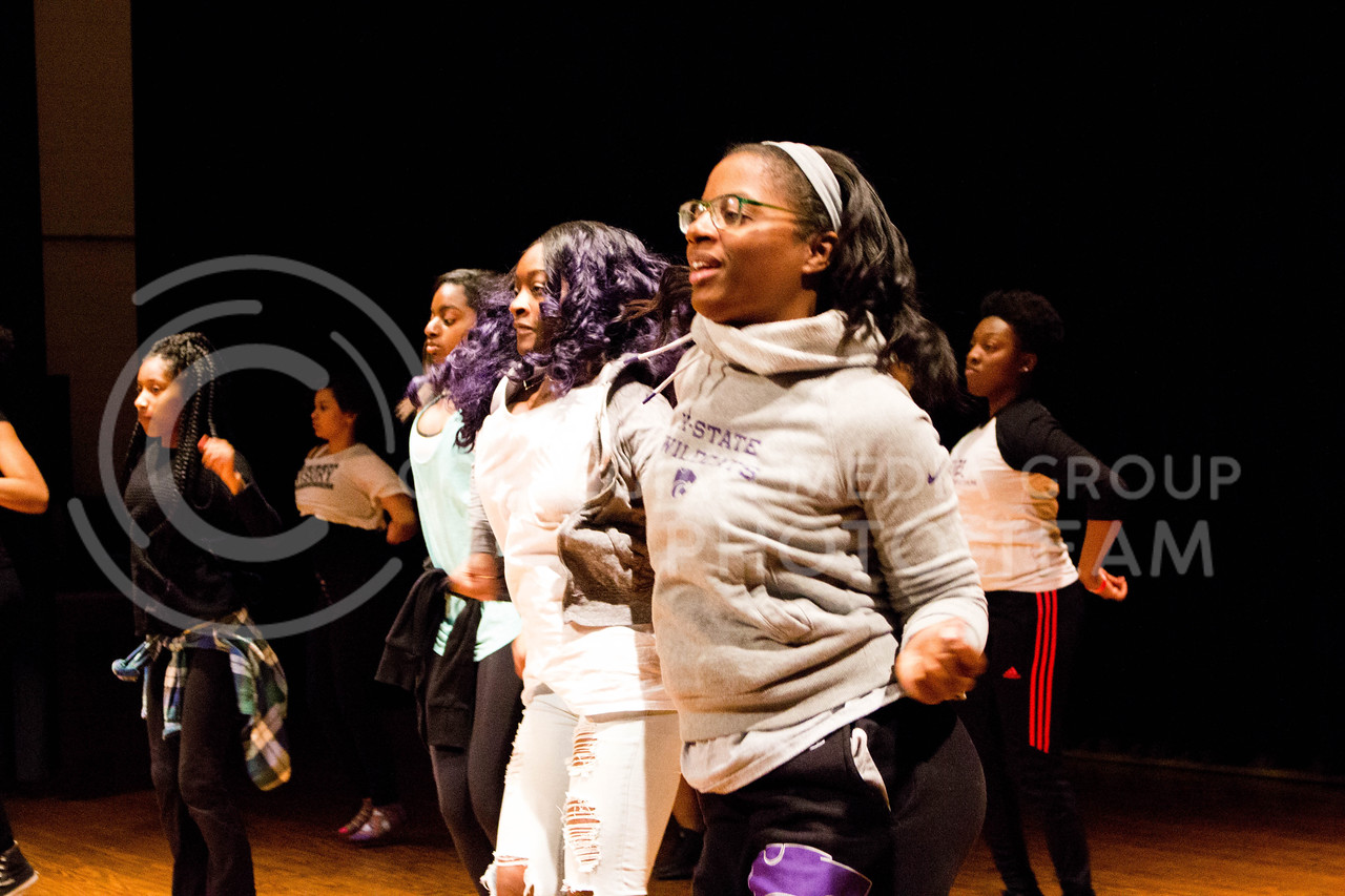"K-State's Hip Hop team practices their dance moves for the second ""Poize After Dark,' happening on April. 24 in Forum Hall, on April. 10. <br /> (Alanud Alanazi 