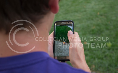 Zach Shogrin, senior in accounting and finance, attempts to catch a Pokemon called a Weedle in City Park on July 11, 2016. (Miranda Snyder | The Collegian)