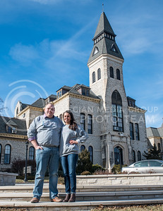 Jack Ayres, senior in chemical engineering, and Olivia Baalman, junior in computer scienece, stand in front of Anderson Hall in the center of Kansas State Universitie's campus on Jan. 27, 2017. (Austin Fuller | The Collegian)