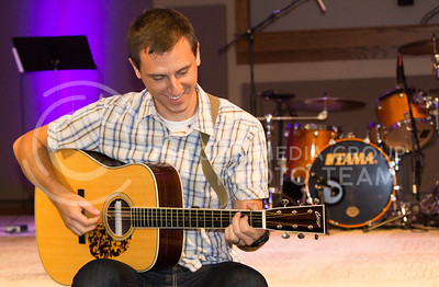 Logan Lindahl, worship leader at Faith Evangelical Free Church, has been playing the guitar since he was in seventh grade. (Hallie Lucas | The Collegian)