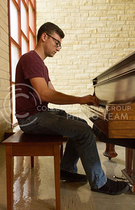 Steven Robinson, sophomore in music education, has been playing the piano for twelve years. (Hallie Lucas | The Collegian).