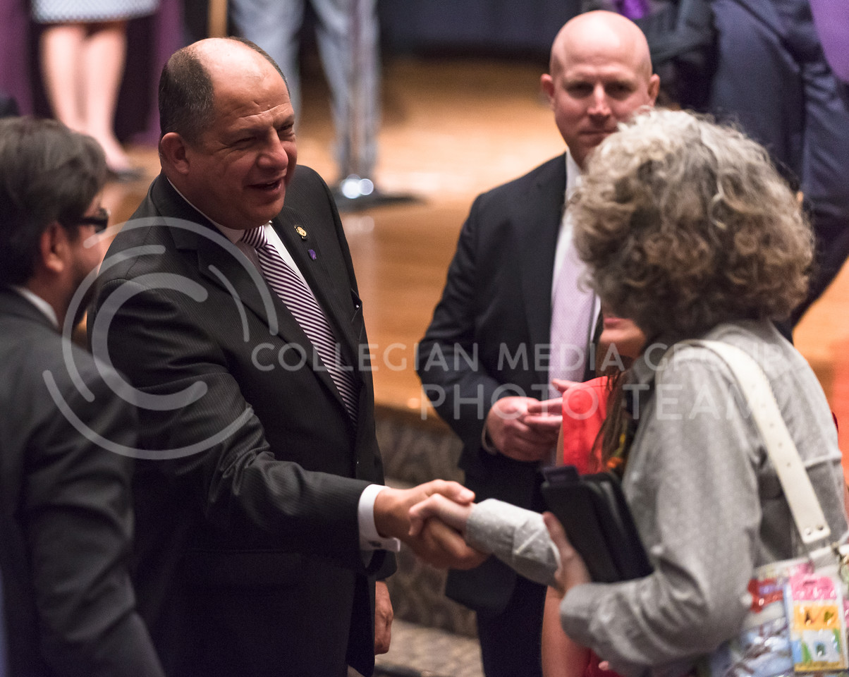 Luis Guillermo Solís, President of Costa Rica, chats with members of the audience after delivering the 171st Landon Lecture May 19, 2016, in Forum Hall. (Parker Robb   The Collegian)