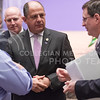 Luis Guillermo Solís, President of Costa Rica, chats with Ambassador Roman Macaya Hayes (right), Costa Rican Ambassador to the United States, after delivering the 171st Landon Lecture May 19, 2016, in Forum Hall. (Parker Robb | The Collegian)