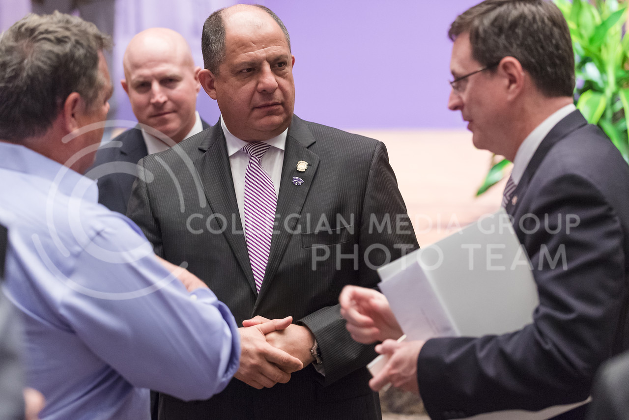 Luis Guillermo Solís, President of Costa Rica, chats with Ambassador Roman Macaya Hayes (right), Costa Rican Ambassador to the United States, after delivering the 171st Landon Lecture May 19, 2016, in Forum Hall. (Parker Robb   The Collegian)