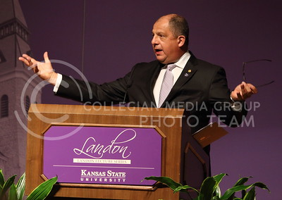 President Luis Guillermo Solís speaks at his Landon Lecture in Forum Hall on May 19, 2016. (Miranda Snyder | The Collegian)
