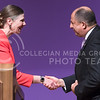 April Mason, Provost and Senior Vice President of K-State, shakes hands with Luis Guillermo Solís, President of Costa Rica, after introducing him as  the 171st Landon Lecturer May 19, 2016, in Forum Hall. (Parker Robb | The Collegian)