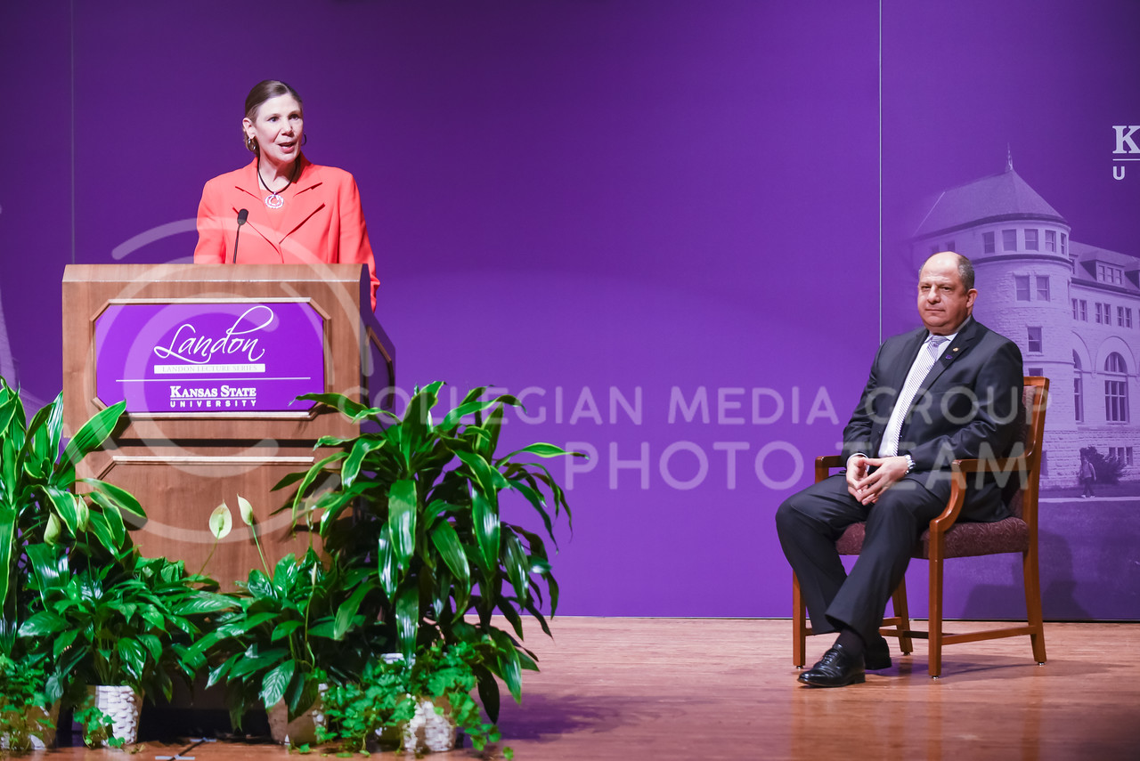 April Mason, Provost and Senior Vice President of K-State, introduces Luis Guillermo Solís, President of Costa Rica, as the 171st Landon Lecturer May 19, 2016, in Forum Hall. (Parker Robb | The Collegian)
