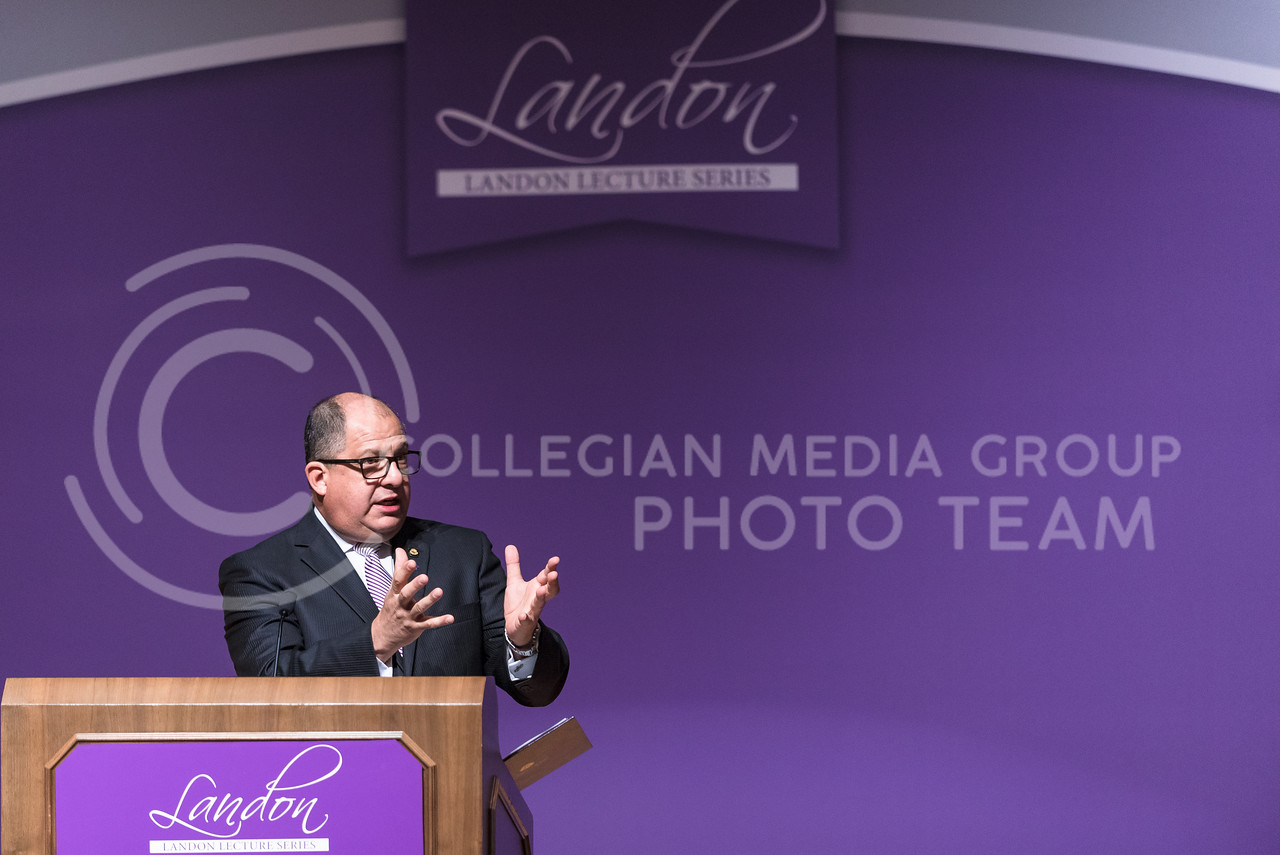Luis Guillermo Solís, President of Costa Rica, delivers the 171st Landon Lecture, speaking about security challenges various democratic states like the U.S. and Costa Rica now face in the globalizing world, May 19, 2016, in Forum Hall. (Parker Robb   The Collegian)