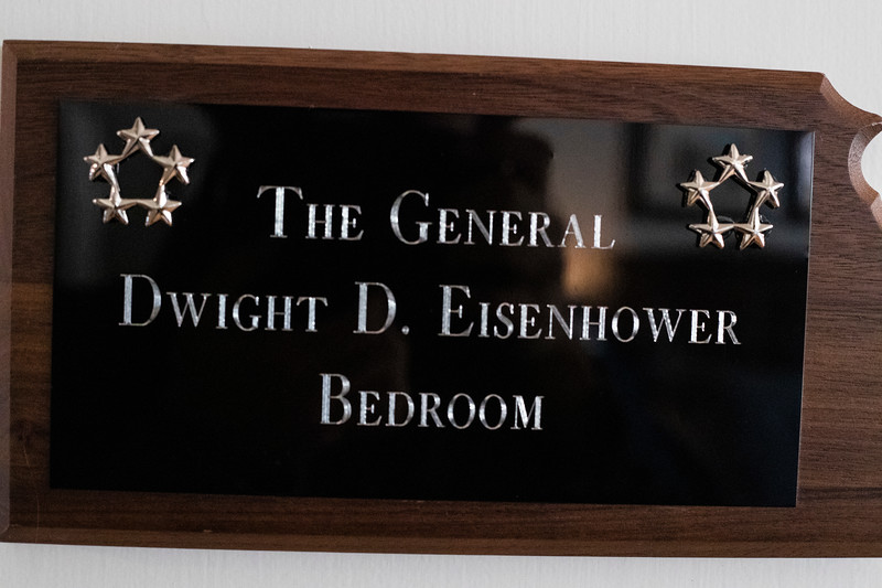 plaque on the door of the Eisenhower room at the presidents residence at Kansas State University ( Dalton Wainscott I Collegian Media Group)