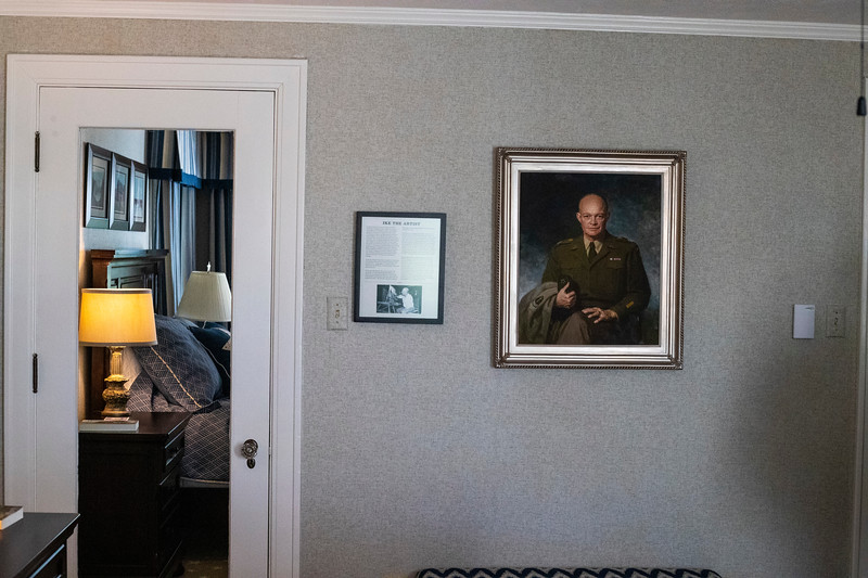 portrait and informational picture in the Eisenhower room at the presidents residence at Kansas State University ( Dalton Wainscott I Collegian Media Group)