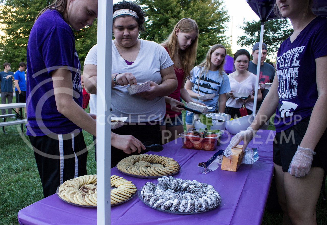 Students from the Goodnow and Wefald residents halls put together their dinners at the block party in front of their halls. (Regan Tokos | The Collegian)