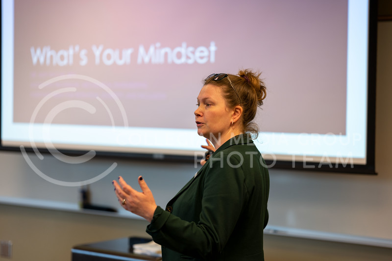Amy Betz, PhD, Associate Professor in Mechanical Engineering gives a workshop on how your  mindset can fulfill, or limit a student. Located in Staley School of Leadership, Room 123 on March 3, 2020. (Dylan Connell | Collegian Media Group)