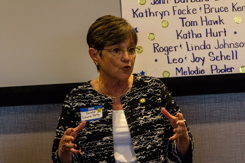 Sen. Laura Kelly a Kansas State Senator since 2004 is running for Governor of Kansas with Sen. Lynn Rogers, a former Wichita School Board member. Laura spoke at the Riley County Democatic Fundraiser on Saturday June 30. (Alex Shaw | Collegian Media Group)