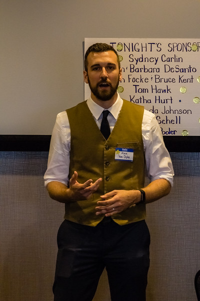 Alex VanDyke a disctict 67 Representitive Canidate for the Kansas House of Representitives. Alex is a KSU Grad and Orginized the March for our lives in Manhattan Kansas. He spoke at the Riley County Democatic Fundraiser on Saturday June 30. (Alex Shaw | Collegian Media Group)
