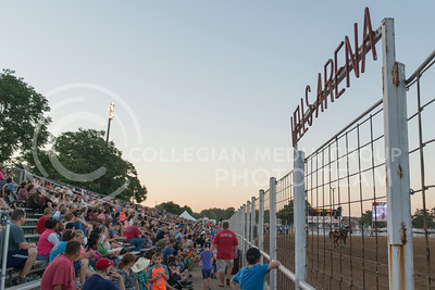 Spectators gather at Well Arena to watch the Kaw Valley Rodeo on July 21, 2016 at the Riley County Fairgrounds in CiCo Park. (Evert Nelson | The Collegian)