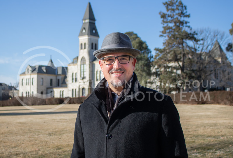 Ryan Swanson who is an K-State Associative VP of Facilities and University Architect standing in front of his favorite building on campus which is Anderson Hall on Feb 20th 2020. He is set to retire this year. (Sreenikhil Keshamoni || Collegian Media Group)