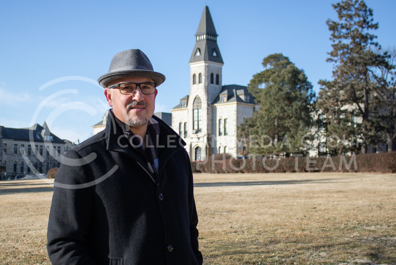 Ryan Swanson who is an K-State Associative VP of Facilities and University Architect standing infront of his favorite building on campus which is Anderson Hall on Feb 20th 2020. He is set to retire this year. (Sreenikhil Keshamoni || Collegian Media Group)