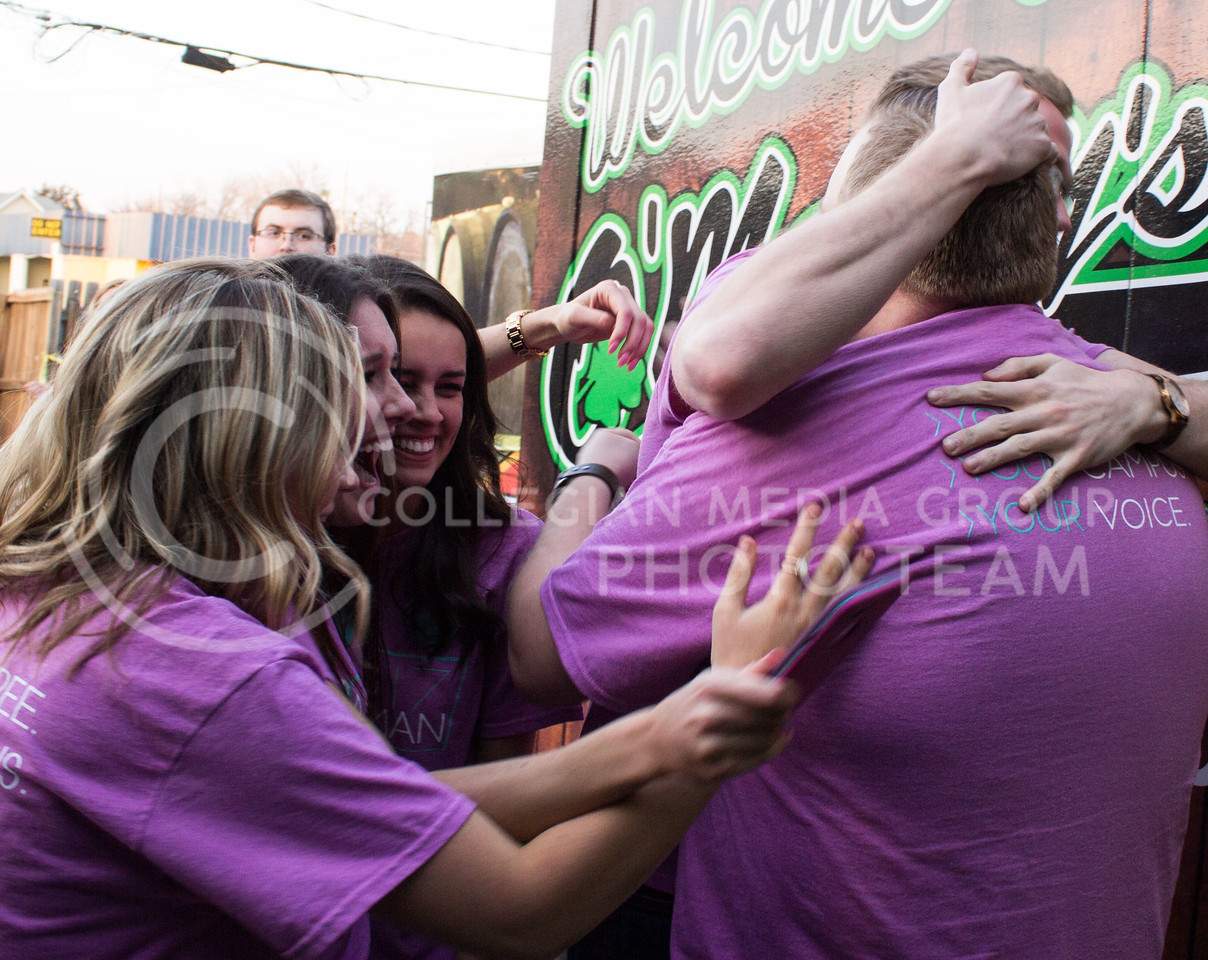 Jack Ayres, senior in chemical engineering and student body president-elect, and Olivia Baalman, junior in computer science and student body vice president-elect, clebrate with their campaign team after winning the student body election on March 8, 2017. (Regan Tokos | The Collegian)